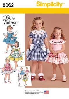 Vintage 1950's dress for toddler and child. Dress A has contrast collar and pockets with soutache trim, Dress B and C with contrast at collar and skirt edge, finish with delicate touches of trim. All have sash bow-tie in back. 8062