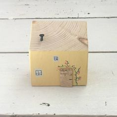 Yellow Painted Wooden House Miniature House Decoration