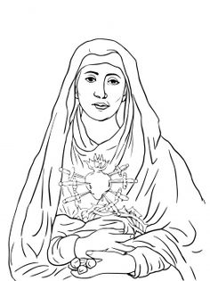 Seven Sorrows of Mary Catholic Coloring Page