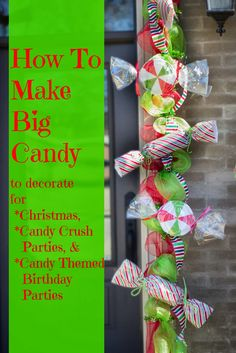 Make Big Candy Decorations Miss Kopy Kat - Making large candy for Christmas or other party ideas Christmas Parade Floats, Candy Land Christmas, Candy Christmas Decorations, Christmas Gingerbread, Lollipop Decorations, Large Outdoor Christmas Decorations, Homemade Decorations, Gingerbread Men, Wall Decorations