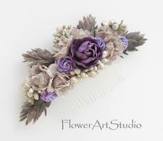 Shabby Chic Flower Comb Cottage Shic Purple by Flowerartstudio