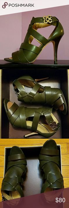 """Coach Olive sandel high heel, approximately 4 inches high. Gold """"C"""" clip on straps. Shoe is an olive color with gold clup. Coach Shoes Heels"""