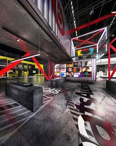 Booth design concept inspired by Decade Collection of Beats by Dre and their wireless Beats X series Gym Interior, Office Interior Design, Stand Design, Booth Design, Floor Design, Ceiling Design, Nightclub Design, Warehouse Home, Architecture Presentation Board