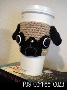 Pug Coffee Cozy ~ fits large coffee and iced beverage cups ~ CROCHET Crochet Coffee Cozy, Coffee Cup Cozy, Crochet Cozy, Crochet Gifts, Hot Coffee, Iced Coffee, Drinking Coffee, Coffee Cafe, Coffee Cozy Pattern