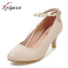 (56.60$)  Buy here - http://ai2bm.worlditems.win/all/product.php?id=32801999472 - 2017 Spring women black white beige shoes string bead ankle strap pumps for party spike high heels wedding shoes plus size 32-45