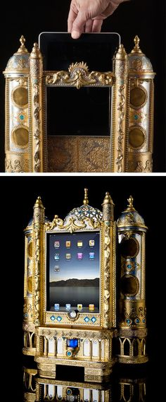 If ever there were an iPad dock fit for royalty, this would be it.This man has created something akin to a shrine to his iPad. Bavarian-based photographer, Georg Dinkel, has created an iPad speaker do Tech Gadgets, Cool Gadgets, Steampunk Gadgets, Ipad Accessories, Fashion Accessories, Neo Victorian, Ipad Stand, Cool Technology, Retro Futurism