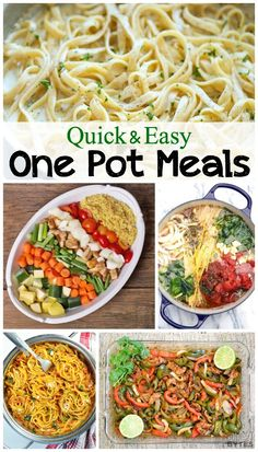 12 easy one pot meals. Everything cooks together in one-pot which makes cooking and cleaning a breeze. Includes one-pot chicken recipes, beef recipes, & meatless recipes.