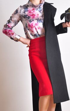 Red Wool High Waisted Long Pencil  Skirt Winter Warm (love the skirt & coat, not sure about the blouse)