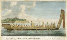 Representation of a war canoe of New Zealand, with a view of Gable End Foreland, Alexr. Polynesian People, Maori Art, Easter Island, South Pacific, French Polynesia, Papua New Guinea, Tahiti, Natural History, Canoe