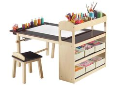Made from solid wood and birch plywood, Guidecraft provides a clean design center for kids to get crafty. These modest sets are sure to keep creativity at the forefront of your child's mind.