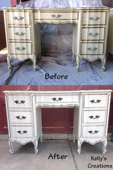 Dixie French Provincial Desk Painted White With Black Antiquing Before And  After Pictures. Refinished By Kellyu0027s Creations. Https://www.facebook.cou2026