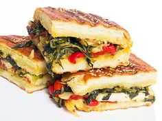 Vegan: Broccoli Rabe and Antipasti Panini with Olive Salad - not bad..very strong taste!