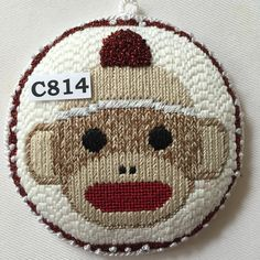 sock monkey needlepoint ornament, Princess & Me design