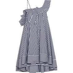 MSGM One-shoulder ruffled striped cotton mini dress (€650) ❤ liked on Polyvore featuring dresses, blue, stripe dresses, one shoulder ruffle dress, trapeze dress, mini dress and one shoulder dresses