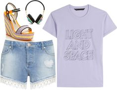 Headphones And Shorts by ellary-branden on Polyvore featuring MARC BY MARC JACOBS, Miss Selfridge, Sophia Webster and Frends