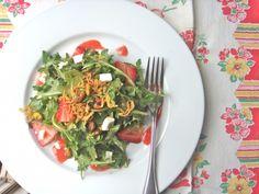 Arugula Salad w/ Strawberries, Feta & Basil