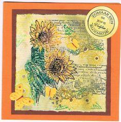 Willy Kamphuis zelfgemaakte kaarten: zonnebloemen