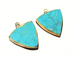 Excited to share the latest addition to my #etsy shop: 1Pc 24K Gold Electroplated Howlite Turquoise Trillion Shaped Pendant, Gold Layered HowliteTurquoise Single Loop Pendant, SKU1007 http://etsy.me/2CWeBF1 #supplies #electroplatededge #raregemsnjewels #24kgoldedge #ch