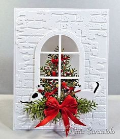 Christmas window card, papertrey ink candy cane