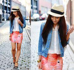 Lovelysally Pink Flamingo Skirt, Omg Fashion Studded Denim Jacket, Gypsy Warrior White Chiffon Blouse