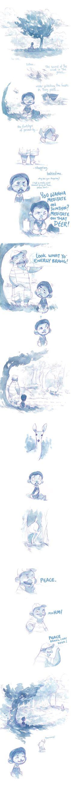 "Watercolor Comic - Peace Energy by nicholaskole.deviantart.com ""Peace Energy!"""