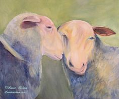 Contemporary Animal Art Two Sheep Portrait Original Oil Painting - Laurie Rohner Studio