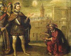 """""""@Seviocio: San Fernando recibiendo las llaves de #Sevilla.1634. Altar del trascoro, Catedral de Sevilla. Obra de Francisco Pacheco"""