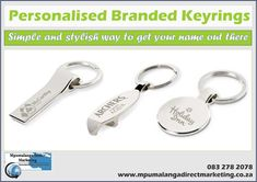 Get your personalized or branded Keyrings at Mpumalanga Direct Marketing TODAY!  Give them out as corporate gifts or as a gift to your business's loyal customers or employees. Get your brand out there with our keyrings.  A personalized keyring is a perfect gift at events for business or personal, leaving a lasting memory with a thank you gift at your events!  Request a quote at sammyschmidt165@gmail.com #mpumalangadirectmarketing #keyrings #gifts