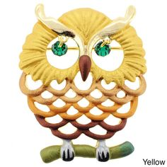This whimsical owl pin is available in your choice of yellow plating with green crystals, red plating with red crystals or green plating with green crystals. A classic pin closure completes the design