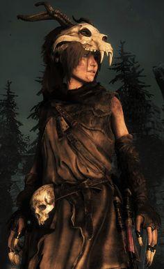 f Druid Leather forest hills night Lara Croft in Baba Yaga