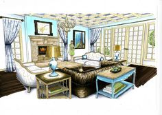 Living Room Rendering.  By Amy Barton