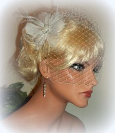 Bridal Hair Fascinator with Birdcage Bridal Veil by kathyjohnson3, $58.00