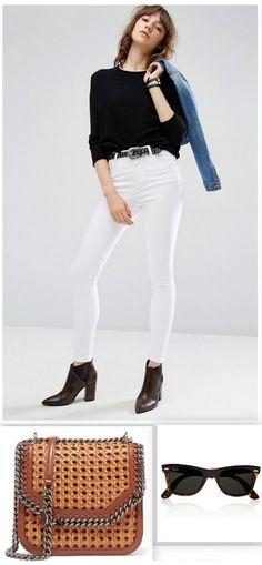 Black light sweater+white skinny jeans+black booties+denim jacket+black belt+brown leather chain shoulder bag+sunglasses. Spring Weekend Casual Outfit 2017