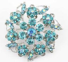 Aquamarine Fine Austrian Rhinestone Crystal Lavish Bridal Wedding Brooch Pin | eBay