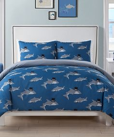 Take a look at this Blue Chomp Shark Comforter Set today!