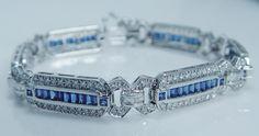 Estate Jewelry 18K White Gold 2.52ct Diamond 3.20ct Sapphire Bracelet 22.4gr
