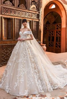 "Crystal Design 2018 Wedding Dresses — ""Royal Garden"" & Haute Couture Bridal Collections 2018 crystal design off the shoulder sweetheart neckline full embellishment princess ball gown bridal gown royal train (magenta) mv – crystal design 2018 bridal gowns Stunning Wedding Dresses, Dream Wedding Dresses, Bridal Dresses, Lace Wedding, Bridesmaid Dresses, Elegant Dresses, Ball Gown Wedding Dresses, Wedding Gown Ballgown, Weeding Dress"