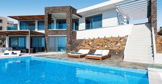 James Villas: Kyma in Horafakia Kafkala, Crete ... looks amazing! A beautiful villa with a private pool by the ocean and family friendly.. yes please!