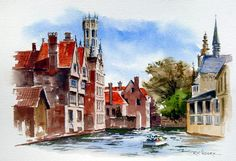 Watercolor painting of Bruges, Belgium