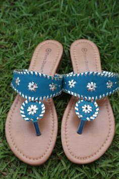 Southern Prep Sandals: Turquoise/Gold - Off the Racks Boutique