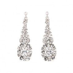 Swarovski Crystal Hollywood Cluster Drop Earrings - White Diamond, Swarovski Crystals, 75mm drop Length, Rhodium Plated Silver Finish. Necklaces, Earrings, Bracelets and Hairpieces