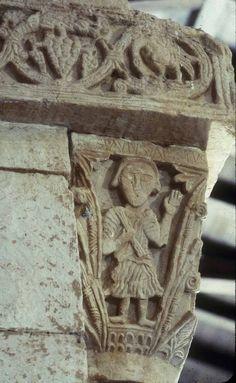 Visigothic art; late 7th-century capitals; Daniel in the Lions' Den, St. Paul, Abraham and Isaac; San Pedro de la Nave