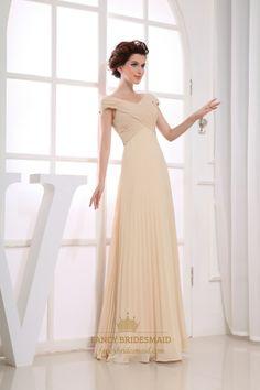 Champagne Chiffon Cap Sleeve Pleated Long Prom Evening Dresses   Fancy Bridesmaid Dresses