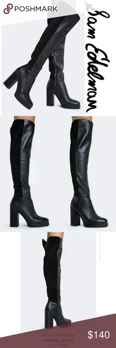 """The Howell Boot These sexy, over the knee boots are just what you need to take your look to the next level. Thigh high boots have a square toe and a two tone panel design with leather and suede. Non-skid sole and cushioned footbed. Color- Black Leather upper, synthetic sole Measurements approx: Heel 4"""", 22.5"""" shaft, 15"""" opening circumference. Fit: Runs true to size. Brand new, no box. Circus by Sam Edelman Shoes Over the Knee Boots"""