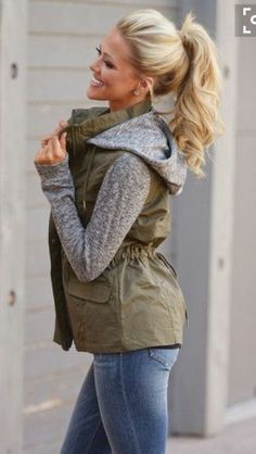 Army green jacket with grey sleeves and hood. Fall fashion 2016