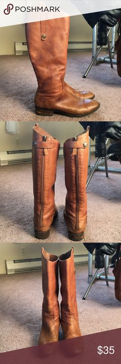 Sam Edelman Penny boots Beautiful Penny boots by Sam Edelman in whiskey brown leather. Some discoloration of the leather on the toes and normal wear on heals. Shaft leather, all buttons, and zippers are all in perfect condition! Sam Edelman Shoes