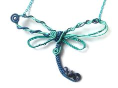 Wire Wrapped Shade of Blue Dragonfly by DragonflyHJewellery