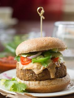 These spicy vegan nacho burgers are made with lentil patties. These spicy vegan nacho burgers are made with lentil patties topped with creamy tahini nacho cheese and piled high with your favorite nacho toppings. Meatless Burgers, Gourmet Burgers, Vegan Entree Recipes, Vegan Dinners, Nacho Cheese, Cheese Sauce, Lentil Patty, Homemade Veggie Burgers, Vegetarian Recipes