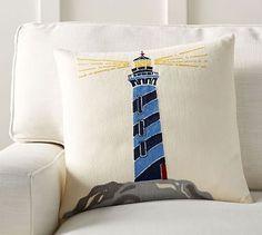 "Lighthouse Crewel Pillow Cover, 18"", Blue Multi"