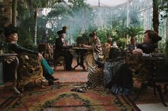 Conservatory from the film Cheri (of which I know nothing--but this makes me curious). Look at the leopard ottoman!